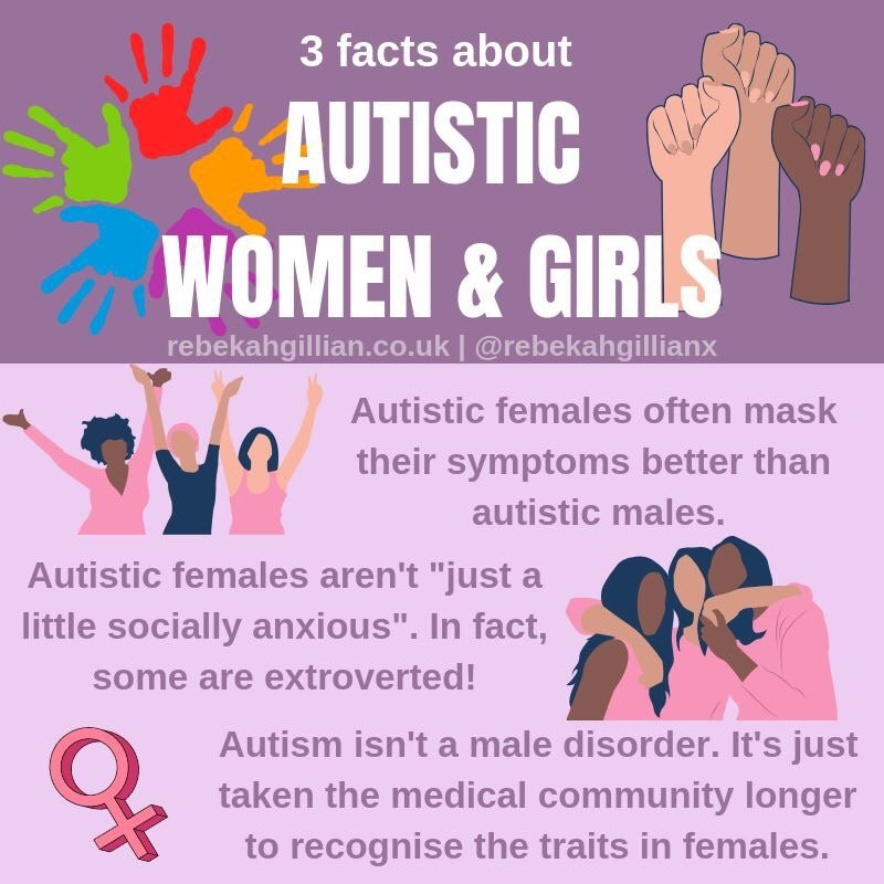 3 Facts About Autistic Women & Girls Infographic • Rebekah Gillian