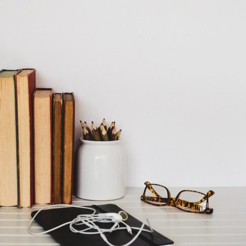 Books • Bookshelf • Lifestyle • Glasses • Headphones • Notepad
