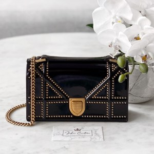 Dior Black Patent Studded Diorama Wallet On Chain