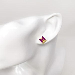 Hermes Purple H Cube Earrings