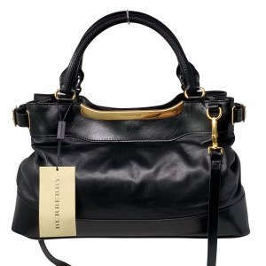 Burberry Black Calfskin Small Bridle Hepburn Satchel Bag