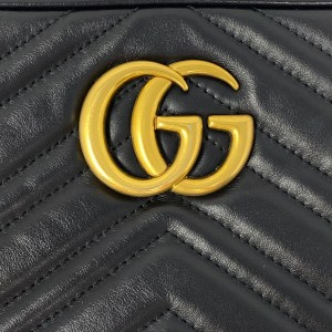Gucci Black Small GG Marmont Camera Bag