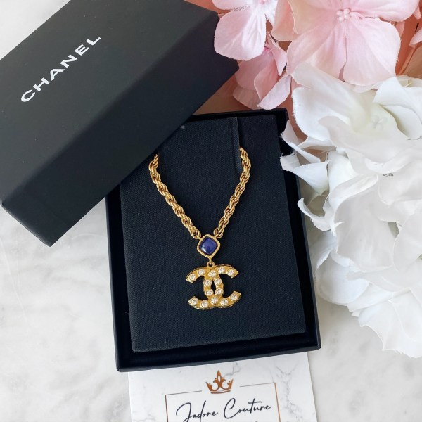 Chanel Gold Crystal CC Pendant Necklace
