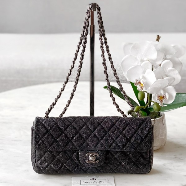 Chanel Metallic Black Quilted East West Flap Bag