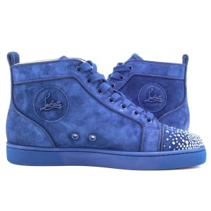 Christian Louboutin Blue Suede High Top Orlato Sneakers 39