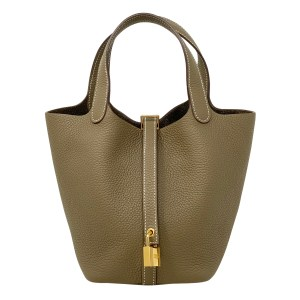 Hermes Etoupe Clemence GHW Picotin 18