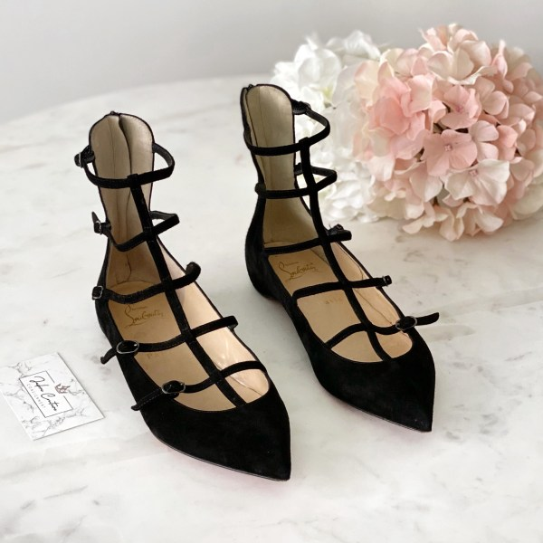 Christian Louboutin Black Suede Toerless Muse Flats 37