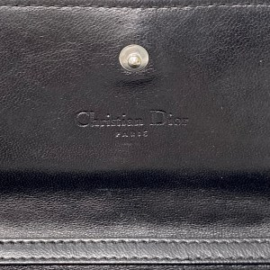 Dior Black Lambskin Cannage Lady Dior Wallet On Chain