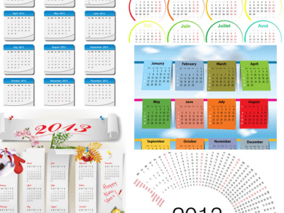 50 Beautiful Calendar Designs - Vector Theme