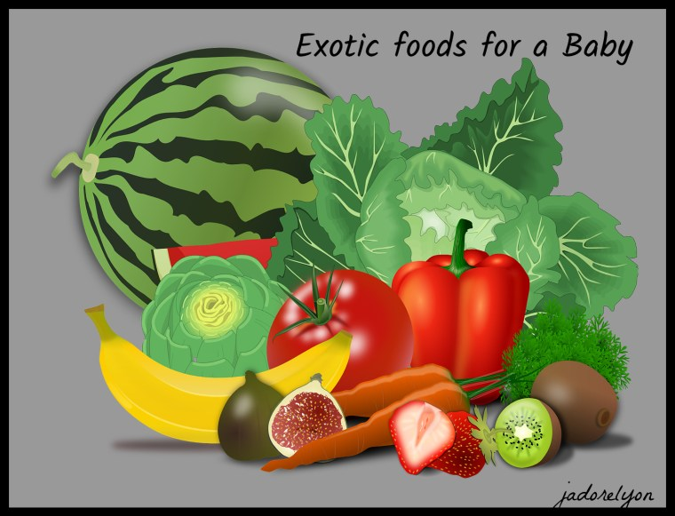 Exotic foods for a baby half polish