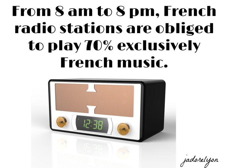 From 8 am to 8 pm, French radio stations are obliged to play 70% exclusively French music