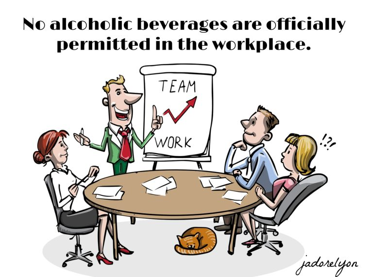 No alcoholic beverages are officially permitted in the workplace.