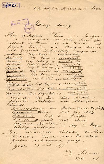 Уверење Теслини положени испити из Граца