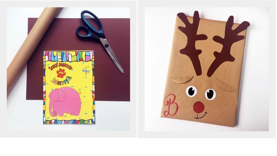 4 sposób zapakowania prezentu w szary papier by Jadźka Rysuje