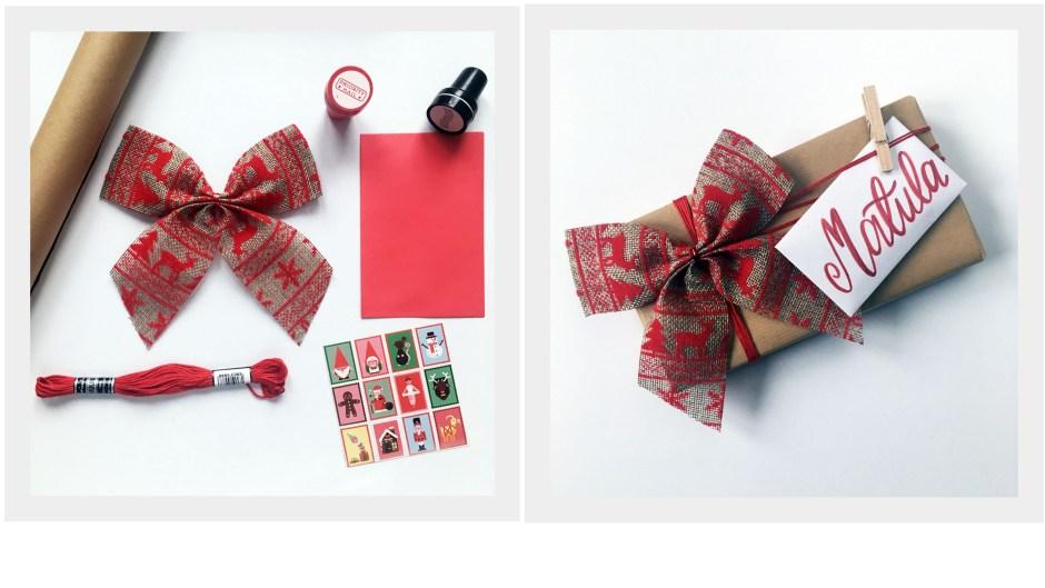 5 sposób zapakowania prezentu w szary papier by Jadźka Rysuje