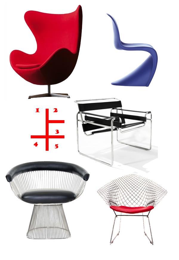 1. Arne Jacobsen Egg Chair 2.Verner Panton Panton Chair 3. Marcel Breuer Wassily Chair 4. Warren Platner Platner Chair 5. Harry Bertoia Diamond Chair