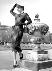 1st May 1950: Belgian born actress Audrey Hepburn (1929 - 1993) leaning on an ornate urn in Kew Gardens. Original Publication: Picture Post - 5035 - We Take A Girl To Look For Spring - pub. 1950 (Photo by Bert Hardy/Picture Post/Getty Images)