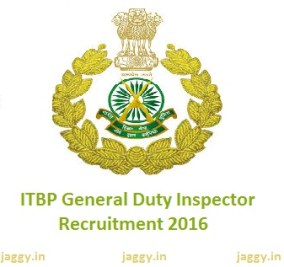ITBP General Duty Inspector Recruitment 2016