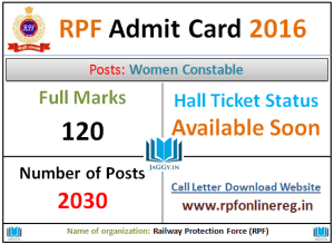 RPF Admit Card 2016 for Women Constable Exam