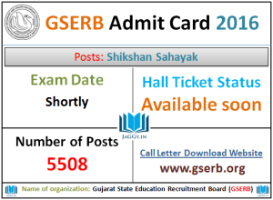 GSERB Admit Card 2016
