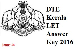 DTE Kerala LET Answer Key 2016