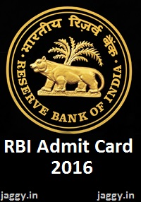 RBI Grade B Officer Admit Card 2016