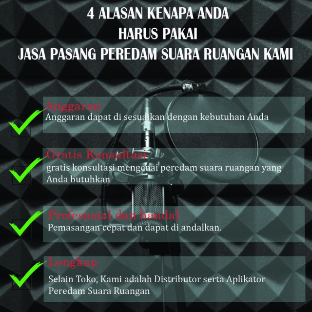 Telepon Kami : 081- 259- 851- 001  Biaya Pembuatan Peredam Suara Home Theater di Wialyah  Rawa Rengas, Kabupaten Tangerang -  Tanjakan,  Kabupaten Tangerang