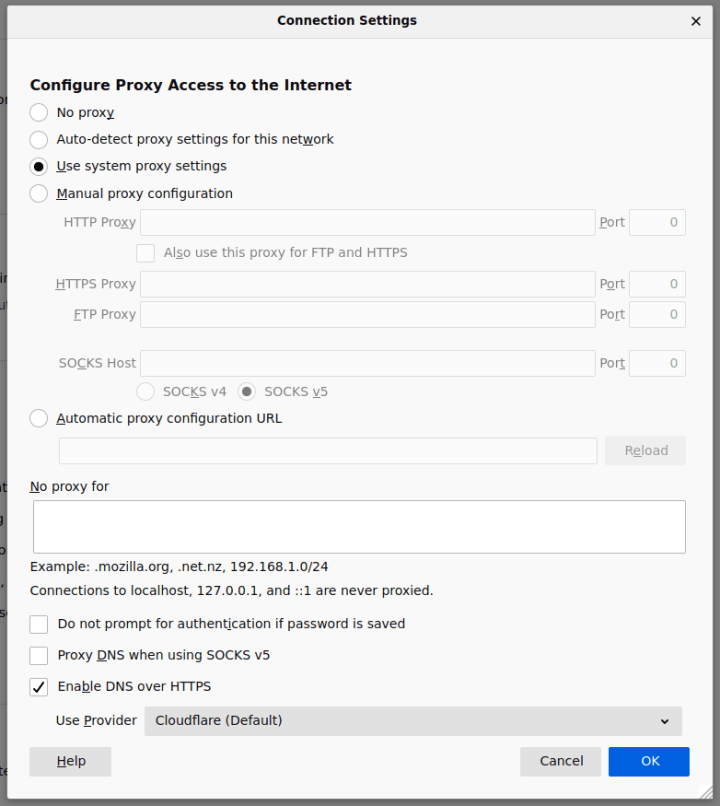 setting connection firefox