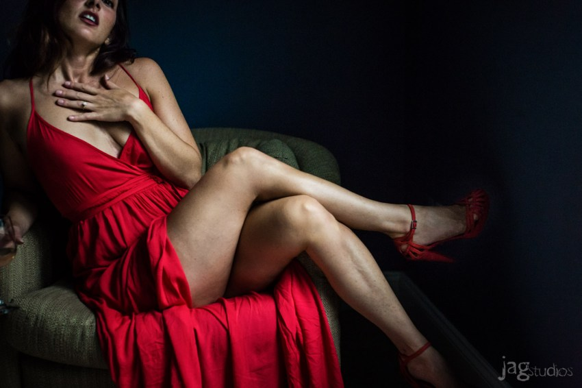 Sexy Red Dress Boudoir Photography JAGstudios