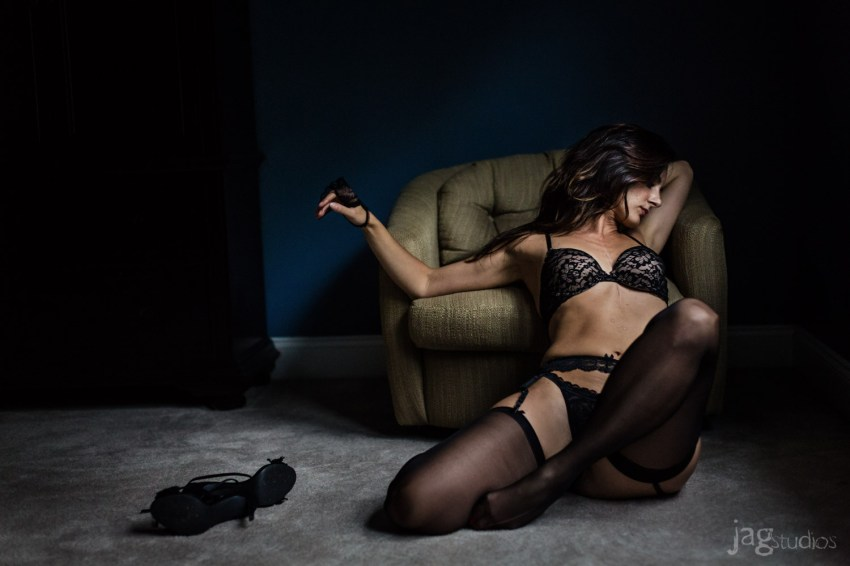 sexy risque photo session with black lingerie JAGstudios