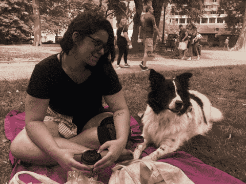 Having a picnic with Andrea and Finn at the park.