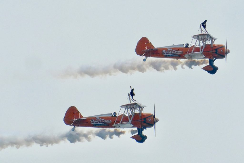 two biplane on flight