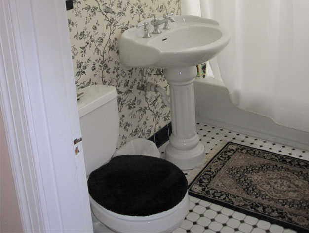 yes a persian bathroom rug can work in