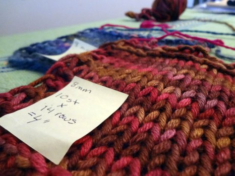 The dried swatches: I make note of the gauge on a post-it, photograph them and add to my ravelry stash listing.