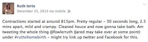 Ruth Lorio tweete le début du travail. Ses premières contractions se manifestent à 20 h 15.