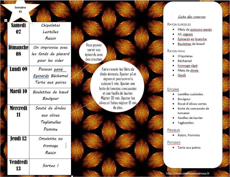 menus semaine 41