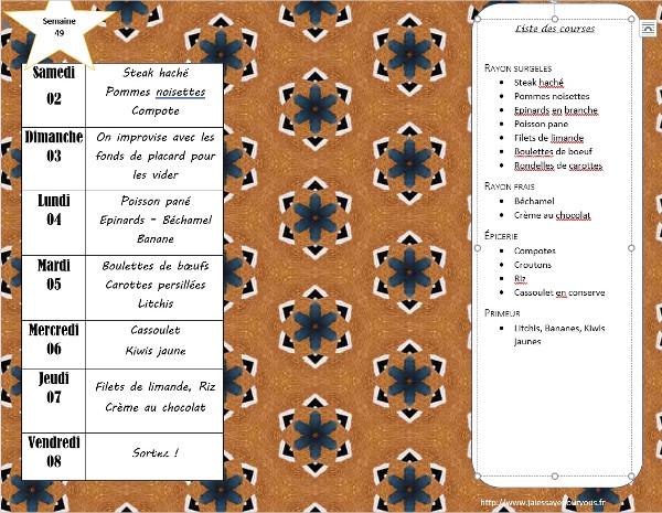 menus semaine 49