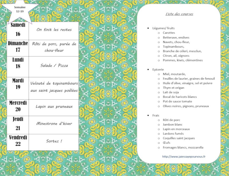 menus semaine 12-19