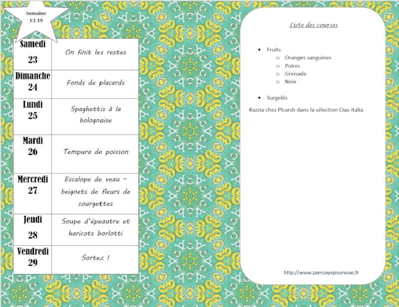 menus semaine 13/19