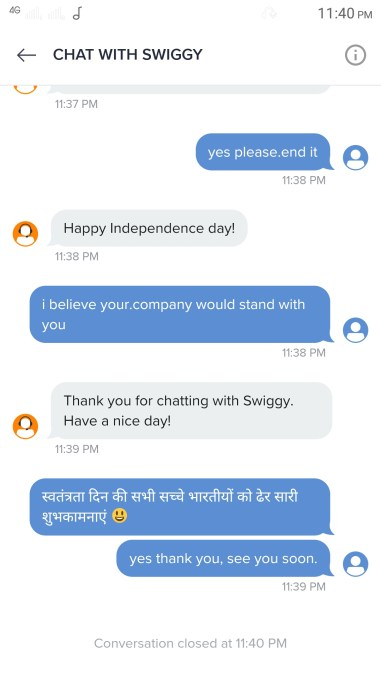 12.Swiggy Executive insults customer & Indian Values post spilled food complaint.