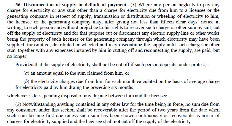 The Electricity Act 2003- 15 Days Prior Written Notice Must for disconnecting Electricity