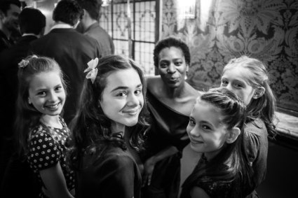 All the girls playing Iris at the Olivier Nominee lunch, with actress Tanya Moodie