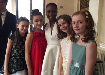 Outstanding Achievement in an Affiliate Theatre nominee Juma Sharkah, with all of the girls who played Iris in The Nether