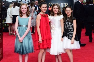 Jaime Adler, Izzy Pappas, Perdita Hibbins and Zoe Brough, nominated for 'Best Actress in a Supporting Role' for The Nether, on the red carpet at the Olivier Awards 2015