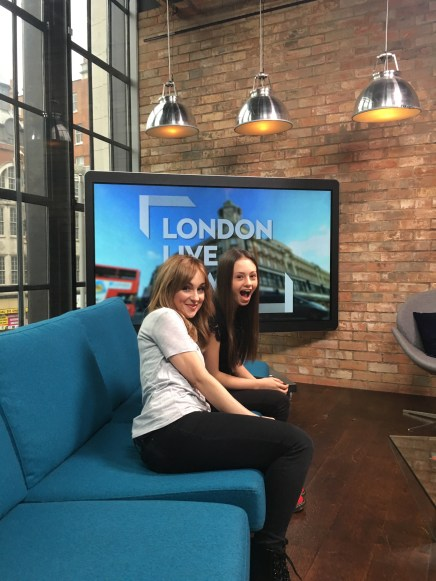Jaime and Lindsey Page on the blue coach, London Live News!