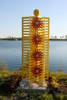 Flowergated<br />Steel sculpture made by Jaime Angulo<br />2009<br />Painted<br />Height 9 ft