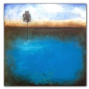 Blue landscape oil painting