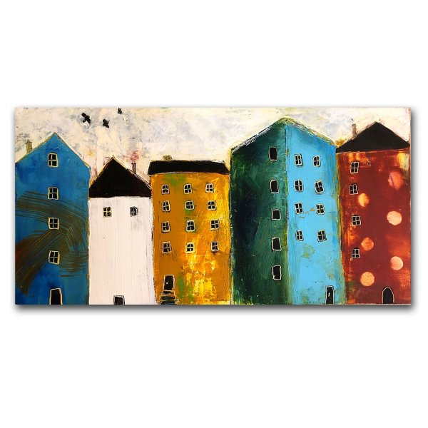 City Dwelling - Oil and cold wax painting by Jaime Byrd with buildings