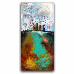 Let's Be Neighbors contemporary art - oil painting