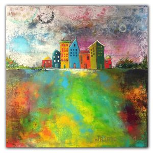 Colorful abstract oil painting with urban buildings